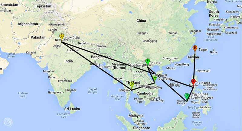 travel itinerary Asia