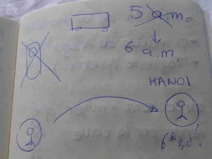 cuaderno escrito mensaje viajero vietnam