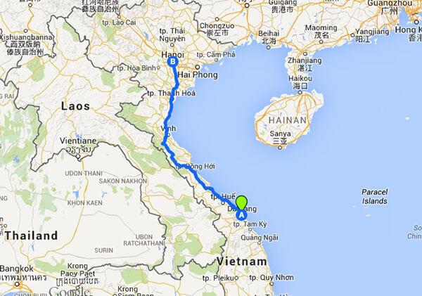 mapa tren Vietnam