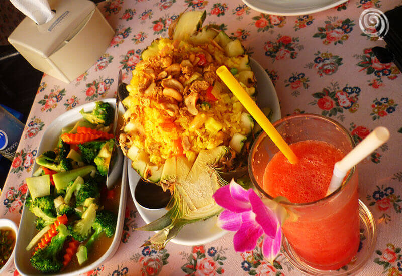 Stuffed pineapple thai food