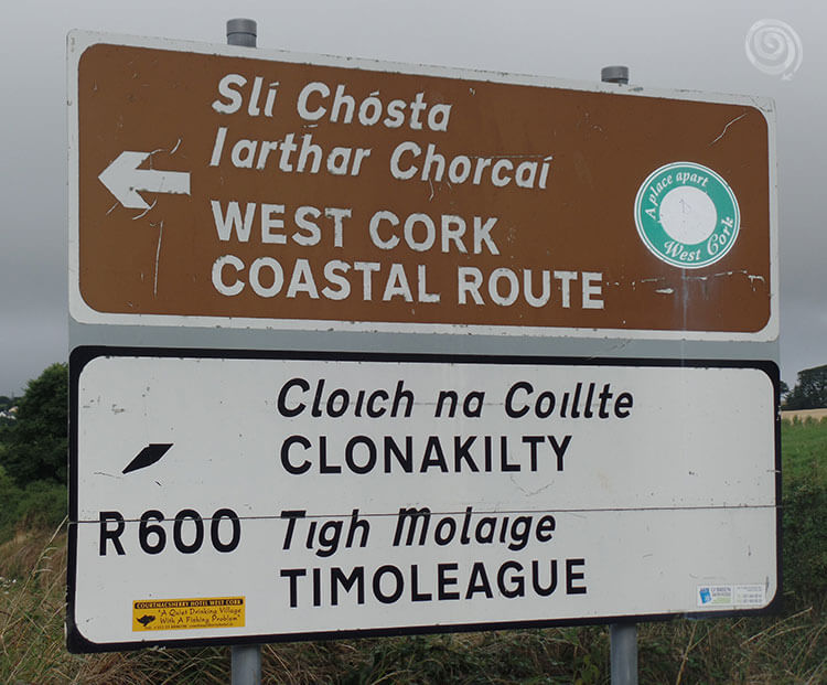 brown and white highway signs in Ireland (West Cork)