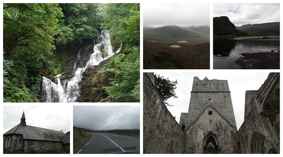 tour de Irlanda cascadas montañas carretera abadía en el Anillo de Kerry