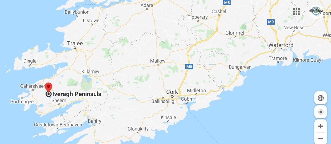 mapa del condado de Kerry en Irlanda y el Anillo de Kerry