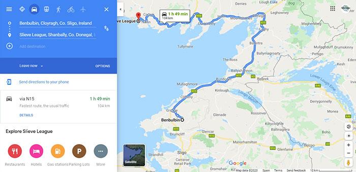 Mapa de Donegal en Irlanda